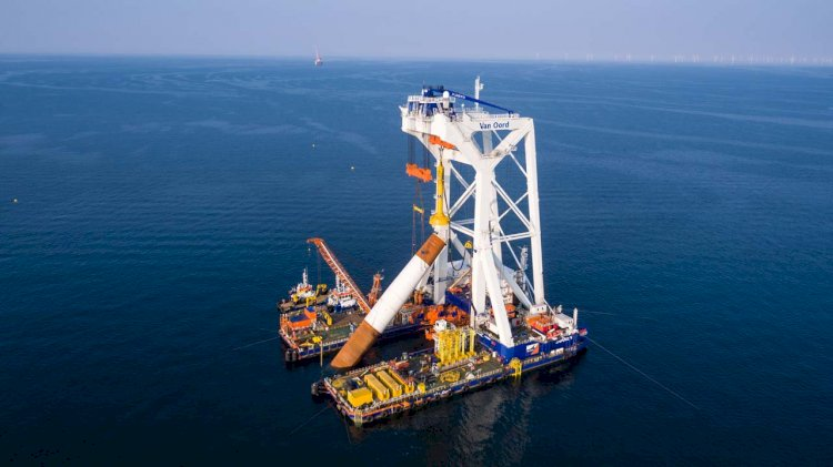 Van Oord's heavy lift installation vessel has arrived at Kriegers Flak wind farm