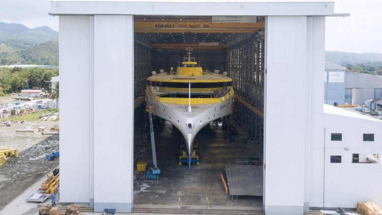 Austal reaches major milestone in construction of trimaran for Fred. Olsen Express