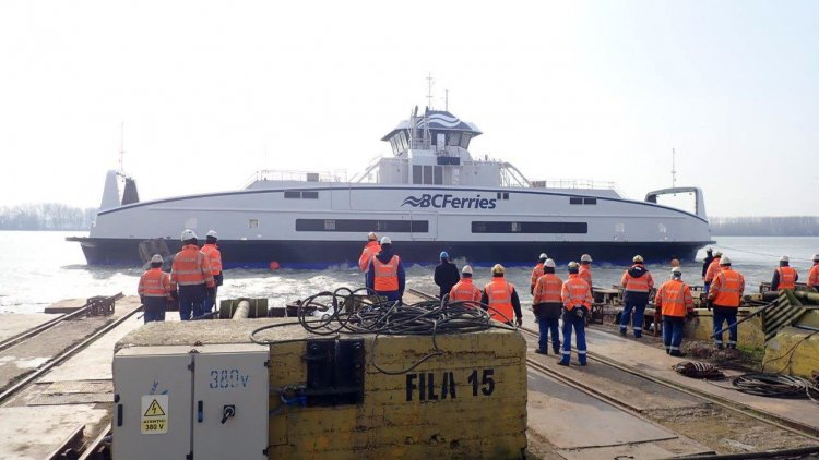VIDEO: BC Ferries' fifth battery hybrid-electric vessel launches