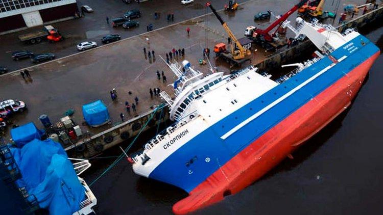 VIDEO: Fish factory ship under construction capsized, sank at shipyard