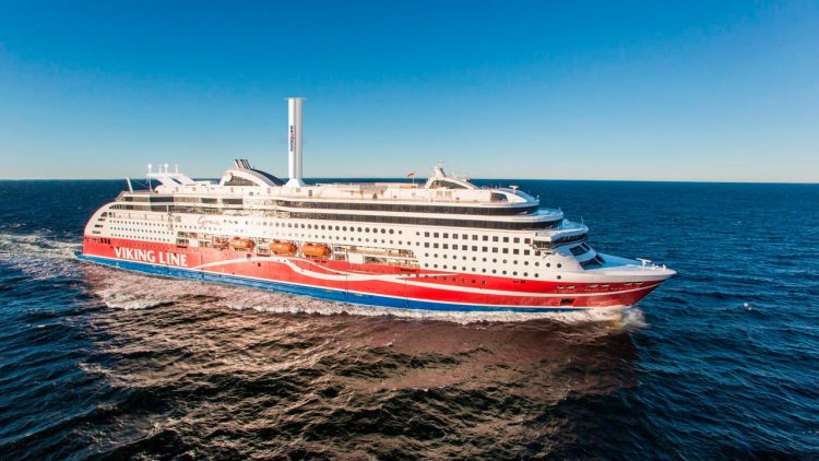 Test run of rotor sail on Viking Grace completed