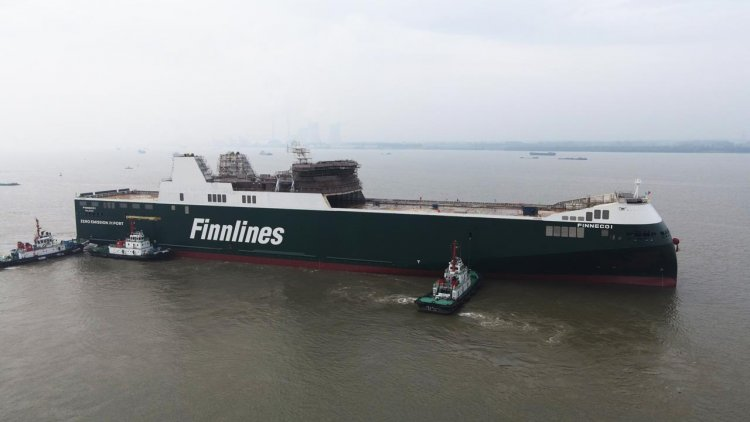 Successful launch for eco-sustainable Finnlines' hybrid ro-ro vessel