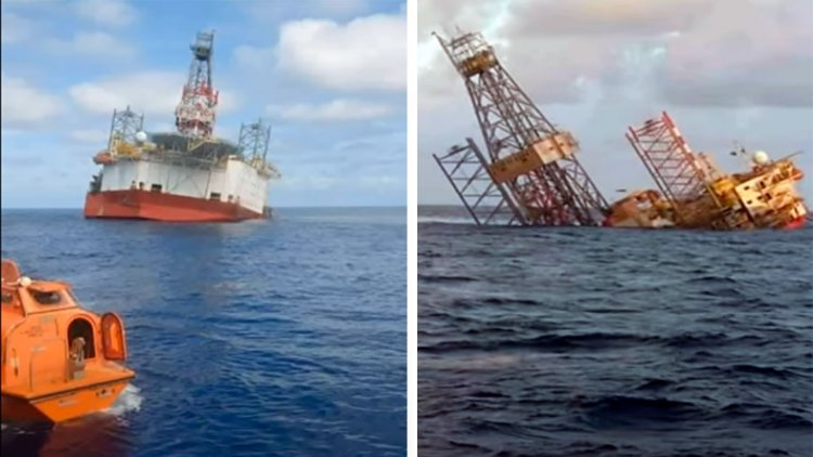 VIDEO: Malaysian offshore rig sinks following punch-through incident