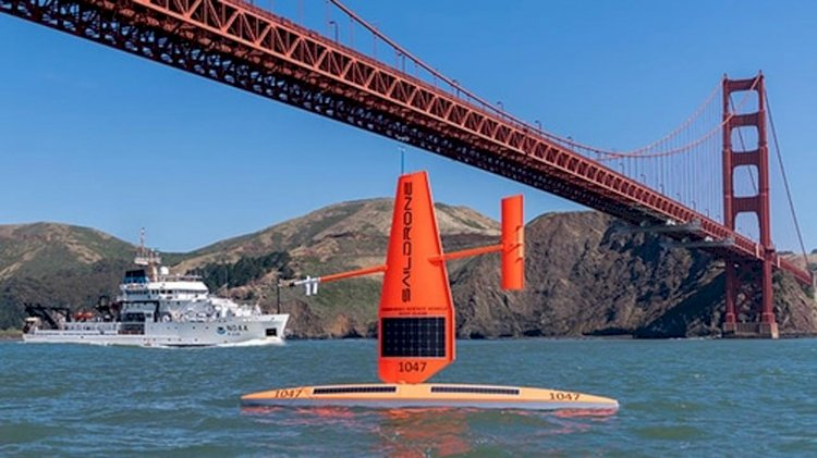 Saildrones work with ships during NOAA fisheries surveys