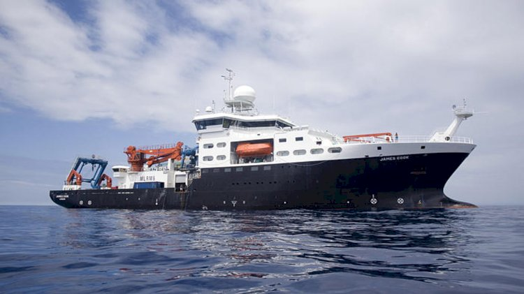 Research expedition conducts a scientific survey in the North Atlantic